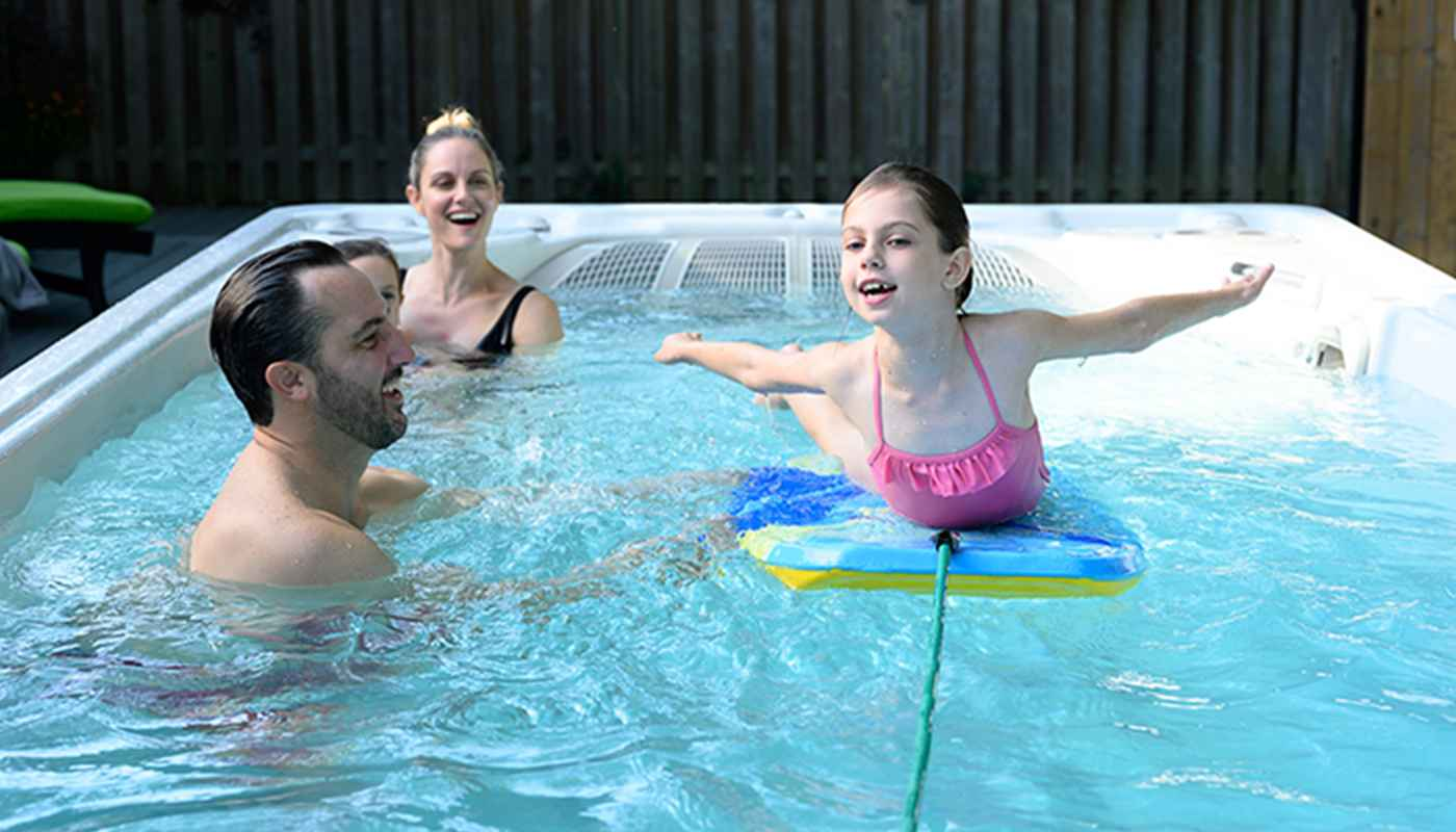 Family in Hydropool Hot Tub